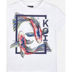 Mayoral - T-shirt dziecięcy 128-172 cm. Szare t-shirty chłopięce z nadrukiem marki bonprix, m, z dzianiny, z kontrastowym kołnierzykiem. Za 64,90 zł.