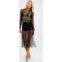 Czarna haftowana sukienka z szyfonu 21271. Czarne sukienki Fasardi, m, z haftami, z szyfonu. Za 59,00 zł.