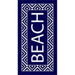 """Kąpielówki męskie: Ręcznik plażowy """"Texty"""" w kolorze granatowym – 170 x 90 cm"""