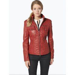 Bomberki damskie: Cabrini - Damska kurtka skórzana, czerwony