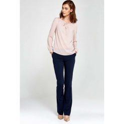 Różowa Bluzka Marszczona przy Dekolcie. Czerwone bluzki longsleeves marki Molly.pl, l, z jeansu, eleganckie. Za 109,90 zł.