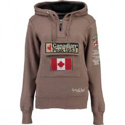 """Bluza """"Gyrelle"""" w kolorze szarobrązowym. Brązowe bluzy rozpinane damskie marki Canadian Peak, s, z aplikacjami, prążkowane, z krótkim rękawem, krótkie. W wyprzedaży za 136,95 zł."""