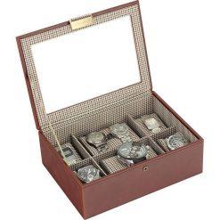 Pudełko na zegarki ze szklaną pokrywką Stackers karmelowe z kratką. Szare zegarki damskie Stackers. Za 294,00 zł.