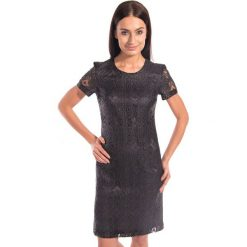 Czarna koronkowa sukienka BIALCON. Czarne sukienki mini marki BIALCON, l, w koronkowe wzory, z koronki, eleganckie, z krótkim rękawem. W wyprzedaży za 200,00 zł.