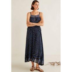 Mango - Sukienka Goa. Szare długie sukienki marki Mango, na co dzień, l, z tkaniny, casualowe, z dekoltem halter, na ramiączkach, rozkloszowane. Za 199,90 zł.