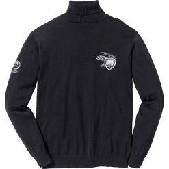Sweter z golfem Regular Fit bonprix czarny. Czarne golfy męskie marki bonprix, m, z haftami. Za 37,99 zł.
