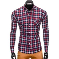 KOSZULA MĘSKA W KRATĘ Z DŁUGIM RĘKAWEM K397 - GRANATOWY/CZERWONY. Czerwone koszule męskie na spinki Ombre Clothing, m, z długim rękawem. Za 49,00 zł.