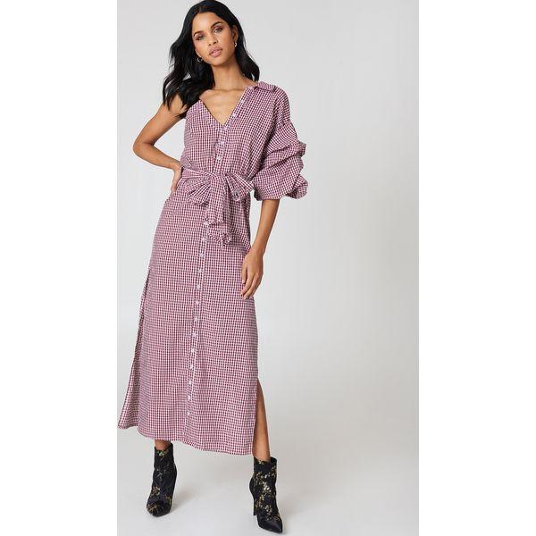 99d99df989 Hot   Delicious Sukienka w kratę z odkrytym ramieniem - Red ...