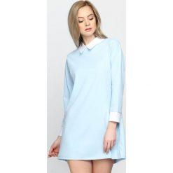 Sukienki: Jasnoniebieska Sukienka White Collared