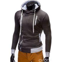 BLUZA MĘSKA ROZPINANA Z KAPTUREM B297 - GRAFITOWA. Szare bluzy asymetryczne męskie marki Ombre Clothing, m, z bawełny, z kapturem. Za 89,00 zł.