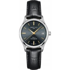 PROMOCJA ZEGAREK CERTINA DS-8 LADY COSC CHRONOMETER C033.251.16.351.01. Czarne zegarki damskie CERTINA, szklane. W wyprzedaży za 1355,20 zł.