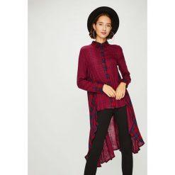 Answear - Koszula. Szare koszule damskie w kratkę ANSWEAR, l, z poliesteru, klasyczne, z klasycznym kołnierzykiem, z długim rękawem. W wyprzedaży za 99,90 zł.