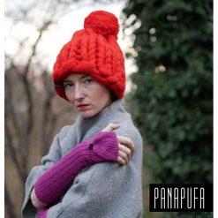 Czapki damskie: czapka BEANIE POMPOM na drutach w grubym splocie