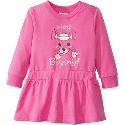 Odzież dziecięca: Sukienka dresowa bonprix różowy flaming z nadrukiem