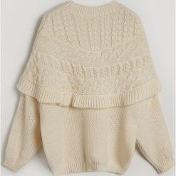 Sweter z wełną - Kremowy. Białe swetry klasyczne damskie marki bonprix, z wełny. Za 159,99 zł.