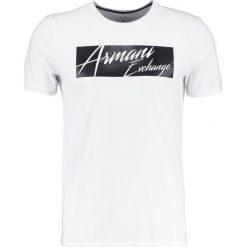 Armani Exchange SLIM FIT Tshirt z nadrukiem white. Czarne koszulki polo marki Armani Exchange, l, z materiału, z kapturem. Za 229,00 zł.