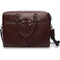 Torba Solier Męska torba ze skóry na ramię, laptopa ROYAL brązowy. Brązowe torby na laptopa marki Solier, ze skóry. Za 419,50 zł.