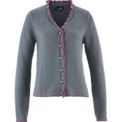 Sweter rozpinany ludowy z falbankami bonprix szary melanż - fuksja. Czerwone swetry rozpinane damskie marki bonprix. Za 129,99 zł.