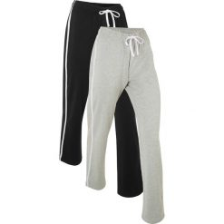 Spodnie dresowe (2 pary), długie, Level 1 bonprix czarny + jasnoszary melanż. Czarne spodnie sportowe damskie marki bonprix, melanż, z dresówki. Za 109,98 zł.