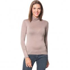 Koszulka w kolorze szarobrązowym. Brązowe bluzki z golfem Assuili, klasyczne, z długim rękawem. W wyprzedaży za 45,95 zł.