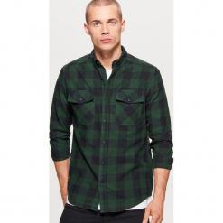 Koszula w kratę - Khaki. Brązowe koszule męskie na spinki Cropp, l. Za 79,99 zł.