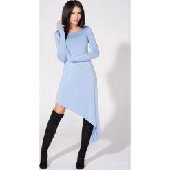 Niebieska Sukienka Asymetryczna Dzianinowa z Długim Rękawem. Niebieskie sukienki asymetryczne Molly.pl, l, z dresówki, z asymetrycznym kołnierzem, z długim rękawem. Za 139,90 zł.