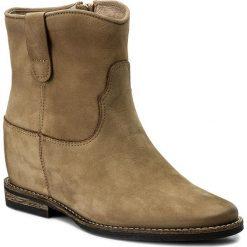Botki CARINII - B4125  J69-000-PSK-B89. Brązowe buty zimowe damskie Carinii, z materiału, na obcasie. W wyprzedaży za 219,00 zł.