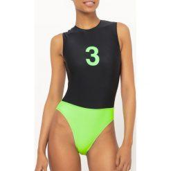 Stroje jednoczęściowe: Jednoczęściowy kostium kąpielowy, dwukolorowy, fluorescenyjny