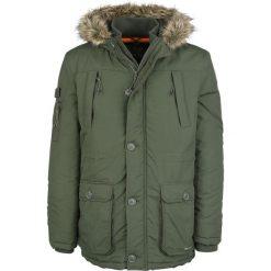 Crosshatch Killblake Kurtka zimowa oliwkowy. Szare kurtki męskie zimowe marki Crosshatch, z nadrukiem. Za 199,90 zł.