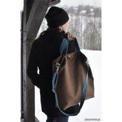 Torba hobo XXL - brąz, turkus. Czarne torebki klasyczne damskie Pakamera, ze skóry. Za 119,00 zł.