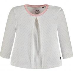 Koszulka w kolorze biało-jasnoróżowym. Białe bluzki dziewczęce z długim rękawem marki Marc O'Polo Junior, z nadrukiem, z okrągłym kołnierzem. W wyprzedaży za 49,95 zł.