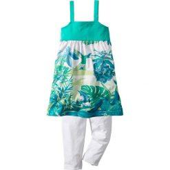 Sukienki dziewczęce: Sukienka + legginsy 3/4 (2 części) bonprix zielono-turkusowy