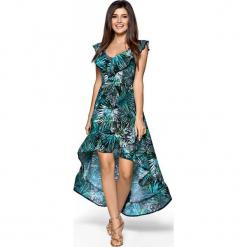 Elegancka Maxi Wzorzysta Sukienka w Typu Hiszpanka. Szare długie sukienki marki Molly.pl, l, w koronkowe wzory, z koronki, eleganckie, z dekoltem typu hiszpanka, z krótkim rękawem, dopasowane. Za 259,90 zł.