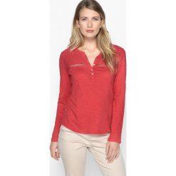 T-shirty damskie: T-shirt z dekoltem z rozcięciem, czysta bawełna