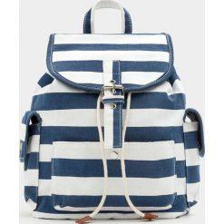 Plecaki damskie: Plecak z materiału w marynarskie pasy