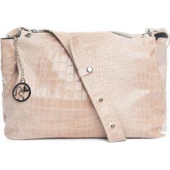 Torebki klasyczne damskie: Skórzana torebka w kolorze kremowym – 30 x 27 x 13 cm