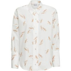Bluzka oversize bonprix biel wełny z nadrukiem. Czarne bluzki oversize marki bonprix, z falbankami. Za 54,99 zł.