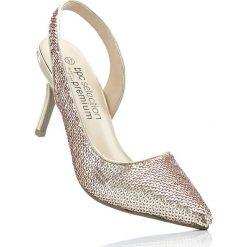 Czółenka z paskiem bonprix kolor czerwonego złota. Żółte buty ślubne damskie bonprix, na szpilce. Za 79,99 zł.