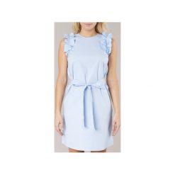 Sukienki krótkie MICHAEL Michael Kors  SLEEVESLESS RUFFLE DRS. Niebieskie sukienki mini marki MICHAEL Michael Kors, m, z krótkim rękawem. Za 647,20 zł.