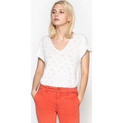 T-shirty damskie: Gładki T-shirt z dekoltem w serek i krótkim rękawem