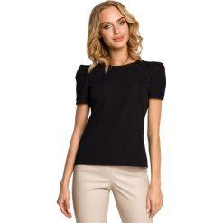 Bluzki asymetryczne: Elegancka bluzka z bufkami i krótkim rękawem - czarny