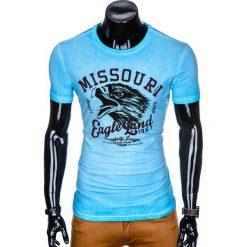 T-SHIRT MĘSKI Z NADRUKIEM S892 - BŁĘKITNY. Niebieskie t-shirty męskie z nadrukiem marki Ombre Clothing, m. Za 45,00 zł.