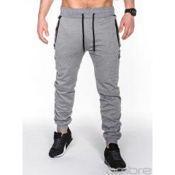 SPODNIE MĘSKIE DRESOWE P464 - SZARE. Szare spodnie dresowe męskie Ombre Clothing, z bawełny. Za 39,00 zł.