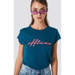 NA-KD T-shirt Offline - Blue. Niebieskie t-shirty damskie NA-KD, z nadrukiem, z okrągłym kołnierzem. Za 72,95 zł.