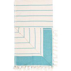 Kąpielówki męskie: Chusta hammam w kolorze kremowo-turkusowym – 180 x 100 cm