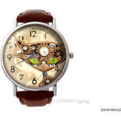 Zegarek z dużą tarczką Steampunkowy kot. Szare zegarki damskie Pakamera. Za 120,00 zł.