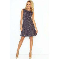 Sukienki: Grafitowo Fioletowa Sukienka Trapezowa Mini bez Rękawów