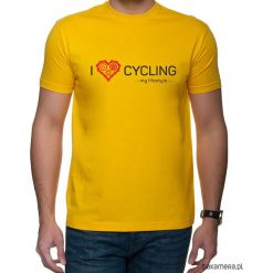 Koszulka T-SHIRT. I love cycling - my lifestyle. Pomarańczowe t-shirty męskie z nadrukiem Pakamera, m. Za 85,00 zł.