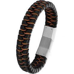 Bransoletki męskie: Skórzana bransoletka w kolorze czarno-brązowym