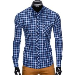 Koszule męskie na spinki: KOSZULA MĘSKA W KRATĘ Z DŁUGIM RĘKAWEM K416 – GRANATOWA/BŁĘKITNA